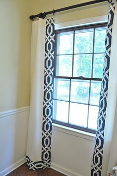 Navy and Cream--Trellis Drapes great idea to trim out white drapes. - different trim but good idea for bedroom windows