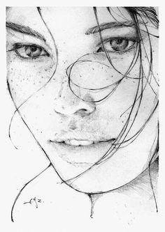 Artist: Graf n'Arq {contemporary figurative art beautiful female head woman face drawing}