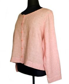 FLAX Sunshine Daily Cardi Top Blouse 3G 3X Peony Pink Linen NWOT #Flax #Blouse #Casual