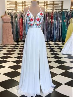 f555200c373 White Prom Dress A-line Floral Embroidery Spaghetti Straps Elegant Prom  Dresses Long Evening Dress AMY1027