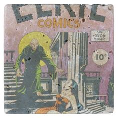 Shop Eerie Comics Stone Coaster created by TheNinthArt. Old Comic Books, Vintage Comic Books, Comic Book Covers, Vintage Comics, Vintage Pop Art, Yellow Moon, Old Comics, Stone Coasters, Custom Coasters
