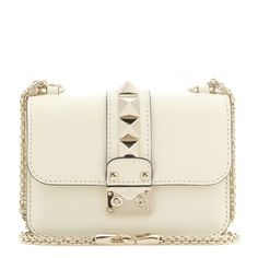 Valentino Lock Mini Leather Shoulder Bag (€1.495) ❤ liked on Polyvore featuring bags, handbags, shoulder bags, bolsas, white, leather purses, white purse, leather shoulder bag, shoulder handbags and genuine leather handbags