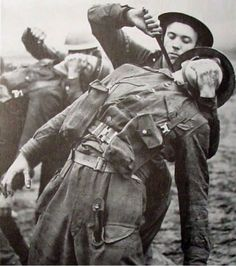 British commandos practice eliminating the enemy with the combat knife. Note that the training is carried out with the real item. Not very safe but, apparently, required by the training manual of the time.