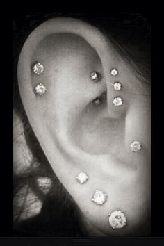 Triple Lobe + Tragus + Double Helix + Triple Forward Helix + Rook