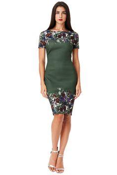 Zelené šaty s květinovým vzorem City Goddess Odette Dresses For Work, Formal Dresses, Night Out, Floral Prints, Bodycon Dress, Glamour, Retro, Stage, Short Sleeves