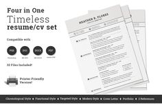 4 in 1 Timeless Resume CV Set by SNIPESCIENTIST on Creative Market