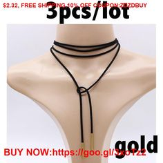 3pcs Classic choker necklace black korea leather Vegan Long Rope chain collier femme sexy copper #Earrings #Rings #Handmade #Silver #Pandora #Nature #Necklaces #Bracelets #Pendants #Bangles