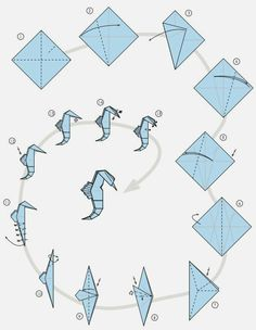 Origami hippocampe 5 – How to make Origami Design, Instruções Origami, Origami Star Box, Origami Ball, Origami And Kirigami, Origami Dragon, Paper Crafts Origami, Origami Flowers, Diy Paper