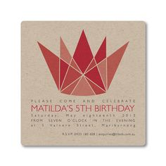 Geometric Crown Invitation  -  Set of 12