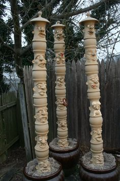 Face jug totem polls by laplaca pottery . . . yes, these too . . .