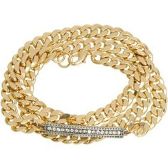 """Heirloom Finds Stunning Chunky Chain Triple Wrap Bracelet in Goldtone with Crystals - Will Fit All! Heirloom Finds. $17.99. Will fit all women!. 21"""" long and 1/4"""" wide. Makes a great gift - arrives gift boxed!. Gleaming crystals on a silver tone plaque complete the look!. Wraps around the wrist 3 times in beautiful gold tone links. Save 61%!"""