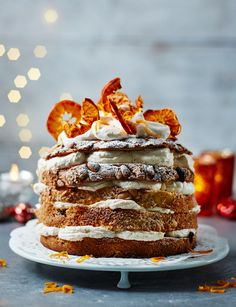 Take one panettone, slice and layer it with Campari cream for a quick-fix pud! Behold, our stunning panettone with Campari and citrus mandarin cream Xmas Food, Christmas Desserts, Christmas Baking, Christmas Recipes, Christmas Eve, Gourmet Recipes, Sweet Recipes, Dessert Recipes, Just Desserts