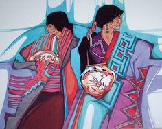 "1982 Amado M. Pena Colcha Series: ""Celebramos"" Santa Fe Native Indians ..."