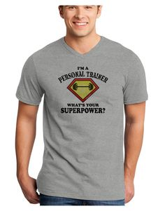 TooLoud Personal Trainer - Superpower Adult V-Neck T-shirt