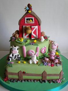 Farm Cake- adorable & I like how they did the name! Crazy Cakes, Fancy Cakes, Cupcakes, Cupcake Cakes, Beautiful Cakes, Amazing Cakes, Farm Birthday Cakes, 2nd Birthday, Farm Animal Cakes