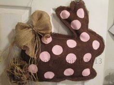 Burlap Door Hanger Bunny with Tail Brown and Pink by nursejeanneg, $30.00