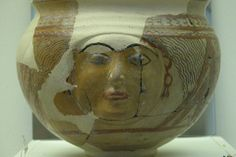Ararat (Urartu) Kingdom of Armenia, baked clay vessel with human face (840 – 590 BC) possibly Araratian Goddess Aruvani/Arubani who is the Goddess of of fertility and art. She was also the wife of the supreme god Haldi - Anatolian Museum of turkey.