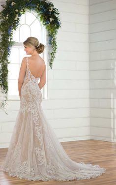 Essense of Australia Wedding Dresses - Search our photo gallery for pictures of wedding dresses by Essense of Australia. Find the perfect dress with recent Essense of Australia photos. Boho Wedding Dress With Sleeves, Fit And Flare Wedding Dress, Perfect Wedding Dress, Dream Wedding Dresses, Bridal Dresses, Wedding Gowns, Wedding Blog, Illusion Neckline Wedding Dress, Wedding Venues