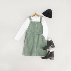 Simple Button Round Tee, White, Washed Cotton Dungaree, Khaki and Chelsea Boots, Black