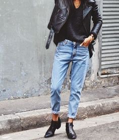 Denim + leather jacket + ankle boots style | @andwhatelse