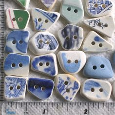 21 Sea Beach Pottery Buttons Focals Double by TidelineDesigns