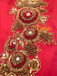For details ping me 9895473878 Zardosi Embroidery, Kurti Embroidery Design, Hand Work Embroidery, Couture Embroidery, Embroidery Motifs, Indian Embroidery, Embroidery Fashion, Hand Embroidery Designs, Beaded Embroidery