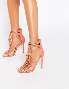 Pink | Faith Daft Pink Suede Ghillie Tie Up Heeled Sandals at ASOS