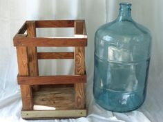 Large glass water bottle in wooden crate. by myretromenagerie, $50.00 Messages in a Bottle