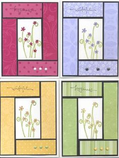 handmade notecard set by kelston ... monochromatic matching printed papers make a patchwork inspired frame ... Stampin' Up!