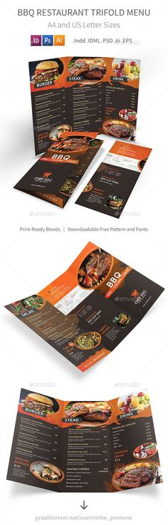 BBQ Restaurant Trifold Menu — Photoshop PSD #eat #house • Available here ➝ https://graphicriver.net/item/bbq-restaurant-trifold-menu/20604686?ref=pxcr