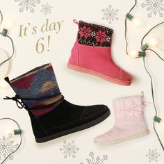 It's Day 6 of TOMS 12 Days of Giving! Today only, 12/7/14, spend over $100 and get 25% off these popular and cozy winter boots. Use code BOOTS when checking out.