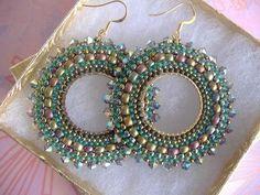 Beadwork Earrings AUTUMN GODDESS Seed Bead Hoop by WorkofHeart, $36.00