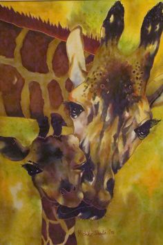 Painting on silk of mother giraffe and baby. Michele Shute 2015