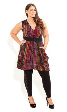 City Chic - Rainbow Serpent Tunic - OneStopPlus .com