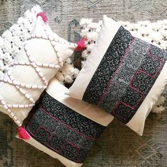 Hmong pillows trending Moroccan style home decor pink tassels cotton canvas