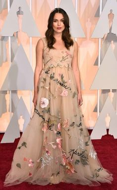 Keira Knightley in an embellished Valentino gown.