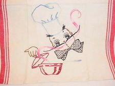HAND EMBROIDERED KITCHEN TOWEL - CUTE CHEF