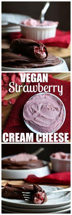 Vegan Strawberry Cream Cheese that will blow your mind! Dairy-free vegan…