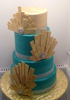 Modern wedding cake design teal and gold