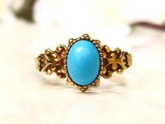Antique Cabochon Turquoise Engagement Ring by LadyRoseVintageJewel