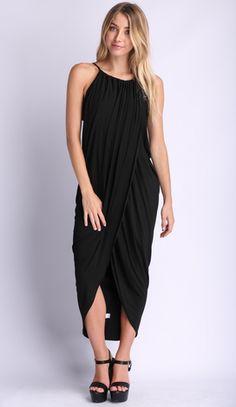 Flutter Midi Dress in Black $39.99 http://www.popcherry.com.au/new-arrivals/