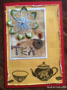 Had to make an Oriental tea card too...another of my favorite topics I like to use in cardmaking. Folded the teabag-medallion from 8  Pu-Erh teabag-wrappers .(Have a look at  the next 3 photo's to see what medallions I got out off the teabag-wrapper). Teapot, cup and spoon are Kodomo-stamps.  And thank you again for coming by and having a look at my card for the awesome Summer Coffee Lovers blog hop 2016.