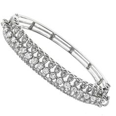 1980s 2.40ct Total Round Diamond 14k White Gold Bracelet - See more at: http://www.newyorkestatejewelry.com/bracelets/estate-2.00ct-center-diamond-gold-bracelet/22552/6/item#sthash.kTnGISkl.dpuf