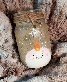 Snowman Mason Jar Candle Holder