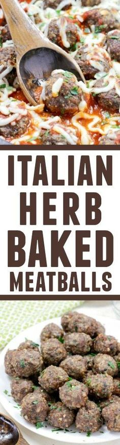 These Italian Herb Baked Meatballs are the most AMAZING meatballs ever! Bursting with an Italian flavor, they will become your family's new favorite! I love food that serves a range of Easy Dinner Recipes, Appetizer Recipes, Easy Meals, Appetizers, Meat Recipes, Cooking Recipes, Healthy Recipes, Italian Dishes, Italian Recipes
