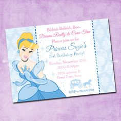 Cinderella Birthday Party Invitations Araina wants a Cinderella