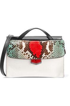Fendi | Demi Jour color-block textured-leather and python shoulder bag | NET-A-PORTER.COM
