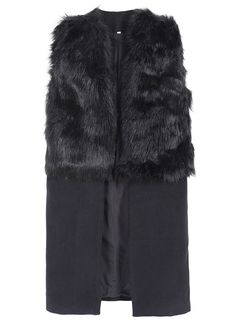 Black Sleeveless Faux Fur Outerwear 34.17
