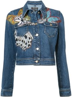 Roberto Cavalli Butterfly Applique Cropped Denim Jacket In Blue Dress With Jean Jacket, Blue Jean Jacket, Cropped Denim Jacket, Cropped Jackets, Painted Denim Jacket, Business Outfits, Business Clothes, Embroidered Jacket, Denim Outfit