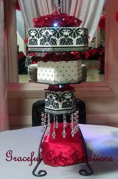 https://flic.kr/p/QCadg7 | Chandelier Wedding Cake with a Black Damask Pattern, Bling and Crystals